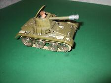 original Gama Tank Panzer Blechspielzeug mit Uhrwerk  antik Millitär mit Mann
