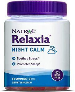 Natrol Relaxia Night Calm 50 Gummies Berry Flavor Melatonin 5HTP 100% Drug Free