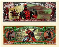 DEADPOOL - Billet 1 MILLION DOLLAR US ! Série Super Heros Comics bd Film Marvel