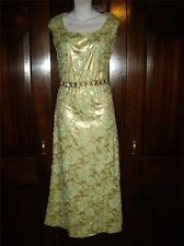 VINTAGE 1970'S Gold Lame Green Lace Sleeveless Cocktail Dress~Jeweled Waist Band