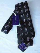 NEW Ralph Lauren PURPLE LABEL Handmade In Italy Black Pattern Silk Tie RRP £145