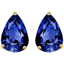 2.50CT WOMENS STYLISH 14K YG PLATED SILVER BLUE SAPPHIRE PEAR STUD EARRINGS