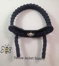 Paracord Bow Wrist Sling  BLACKOUT  w/7 hole Leather Yoke