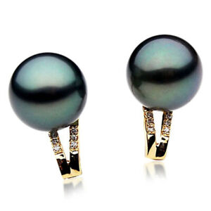 New Pacific Pearls® Tahitian Diamond Black Pearl Earring 13mm Gifts for Yourself