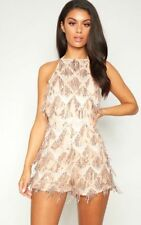 035c88b111 Pretty Little Thing Rose Gold Tassel Sequin Playsuit Size 6 Brand New With  Tags