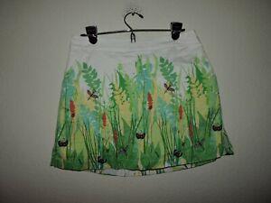 Lady Hagen Golf Skirt Skort Size 8 Medium White Floral with butterflies Pockets