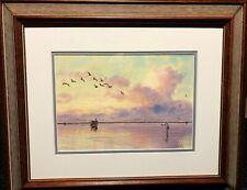 """Herb Booth """"Fly Fishing The Flats"""" Original Watercolor Saltwater New Frame"""