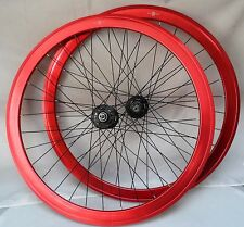 Hand Built 42mm Track/Fixie Wheelset, High Flange Sealed Bearings, Red New!