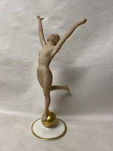 VTG ART DECO LORENZ HUTSCHENREUTHER GERMANY NUDE DANCER LADY GOLD BALL FIGURINE