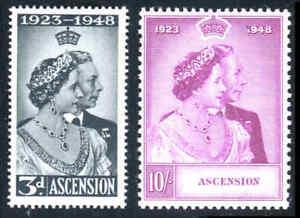 ASCENSION, #52-53, 1948 SILVER WEDDING, MNH. CV