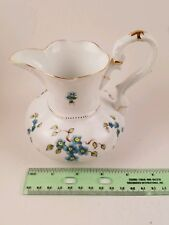 Lissi Kaplan Rare Porcelain White And Blue Flowers Trimmed In Gold