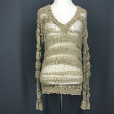 URBAN OUTFITTERS Sweater XS Beige V-Neck Open Ribbon Knit STARING AT STARS
