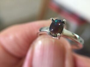 Black Fire Opal 0.4Ct Ring on solid 925 Sterling Silver Size 6.5 US