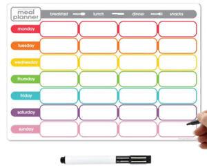 Fridge Meal Planner Dry Erase, Weekly Diet Journal Dry Wipe Magnetic Food Diary