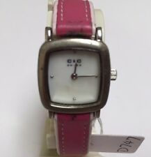 Vintage C &C Swiss Lady Pink Band Square Analog Quartz Watch Hours~New Battery