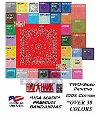 3-HAVAHANK 2-Sided Cotton PAISLEY BANDANNA BANDANAS Head Neck Wrap Scarf Hanky