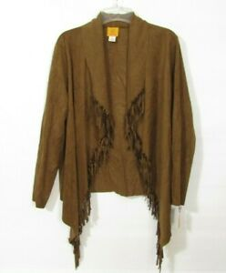 Ruby Rd. Jacket Size 14 Brown Fringe Western Cowboy Open front Long sleeve NEW