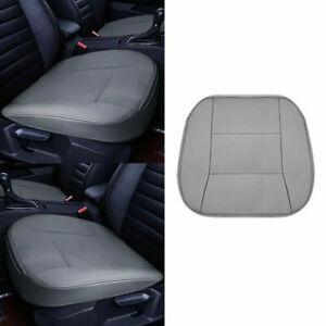 2Pc PU Leather 3D Full Surround Car Seat Protector Seat Cover Accessories Grey