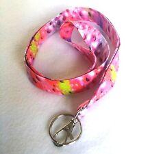 Fabric Lanyard ID Badge Key Holder Cotton Pink Raindrops