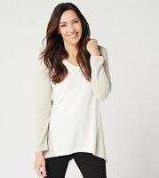 Denim & Co. Active Regular Heavenly Jersey Colorblocked Tunic - Warm Grey -Large