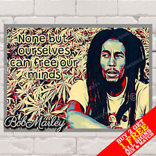 More details for metal sign - bob marley poster, motivational quote, music, wall art & home decor