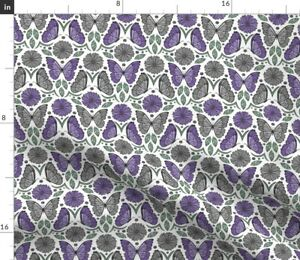 Butterfly Flower Floral Nature Insect Damask Spoonflower Fabric by the Yard