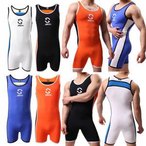 Sexy Mens Undershirts Leotard Fitness Wrestling Singlet Bodysuits Sport Bodywear