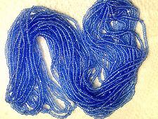 Vtg HANK TRANSPARENT DEEP BLUE CHARLOTTE GLASS SEED BEADS 11/0 CZECH #062112v