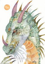 "ACEO Giclee PRINT watercolor 2.5"" x 3.5""  'Grigori' DRAGON mystic totem spirit"