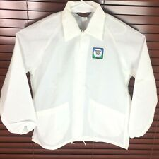 Vintage Mens Shearson Lehman Hutton Sz XL Open White Nylon Jacket Dunbrooke