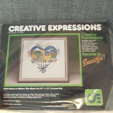 Creative Expressions 1029 Crewel kit Home Is Where The Heart Is 1983