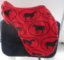 Horse Stock or Swinging Fender Saddle cover FREE EMBROIDERY Red/Black Horses