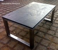 Kufentisch Schiefertisch Couchtisch Loungetisch Naturstein+ Edelstahl Bürotisch