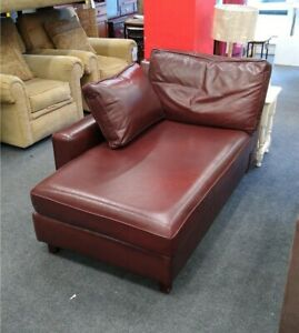 WESLEY BARRELL Oxblood Leather Chaise Lounge - CIS C60