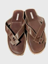 Manolo Blahnik thong brown Leather men's man Sandals Sz 12 Used good condition