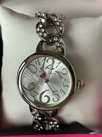 Betsey Johnson Silver Tone Link Woven Bling Accent  Watch NIB $65.00