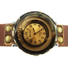 Montre à quartz Bracelet Homme Femme 15 17,5 Cm cuir brut marron strass doré