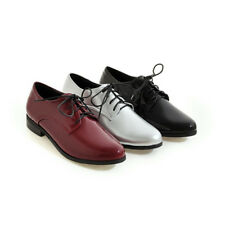 Plus Size Shoes Womens Patent Leather Oxfords Round Toe Lace Up Casual Flats New