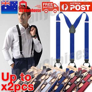 1x 2x Men's 35mm Wide Suspenders Adjustable Elastic Leather Braces Trousers AU