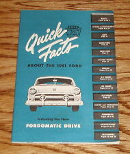 1951 Ford Quick Facts Manual Brochure 51 Fordomatic