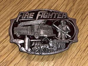 Vintage US Fire Fighters Heavy Metal Belt Buckle Dated 1989