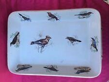 plat en porcelaine Louis Lourioux France Le Faune déco oiseaux