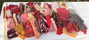 9 LB Lot VTG Cotton Fabric Scrap Remnant Craft Quilt Novelty Red Orange Floral