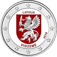 Lettland 2 Euro Münze 2016 bfr Regionen Serie Vidzeme Zentral Livland in Farbe
