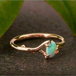 Gorgeous Rose Gold Rings for Women Wedding Oval Cut Opal Jewelry Gift Size 6-10