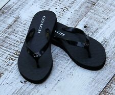 COACH ABBIGAIL Toe Black Flip Flops Sandals Women Sz 5-6 - NEW