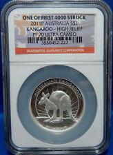 Australia 2011 Silver Kangaroo - High Relief NGC Proof-70 UC Australian