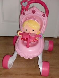 Fisher-Price Princess Stroll Along Musical Baby Walker Dolls Pram + Chime Doll