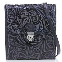 Patricia Nash Rossano BLACK Tooled Leather Crossbody Organizer $200 Retail NWT