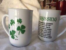 2 Irish Blessing ceramic mugs St. Patricks Day cups from Ireland,Shamrocks Set